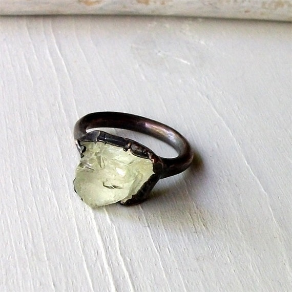 Copper Ring Hiddentite Mint Celadon Gem Stone Crystal Artisan Handmade