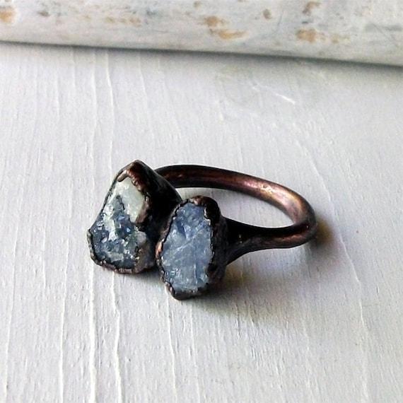 Ring Druzy Copper Geode Sapphire Gem Stone Cornflower Blue Storm Grey White Handmade Artisan