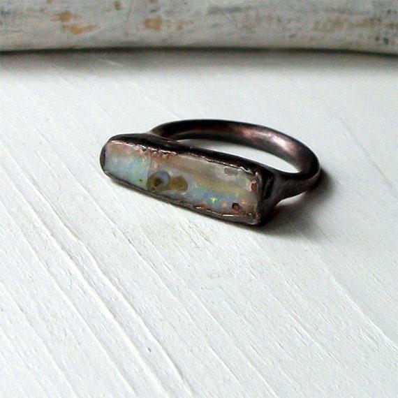 Copper Boulder Opal Ring Stone October Birthstone Natural Raw Patina Artisan