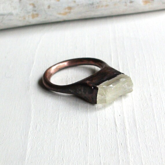 Copper Ring Scapolite Crystal Clear Gem Stone Natural Raw Patina Artisan