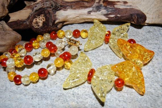 Transform - Pressed Amber Butterfly Beaded Necklace