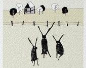 3 hares - fine art print