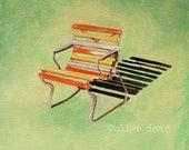 art print, retro, garden chair, mid century