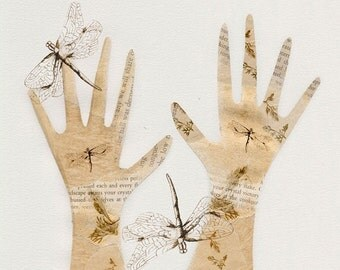 collage, mixed media, art print, dragonfly gloves
