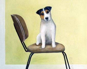 Mid century chair with Jack Russell - fine art pigment print