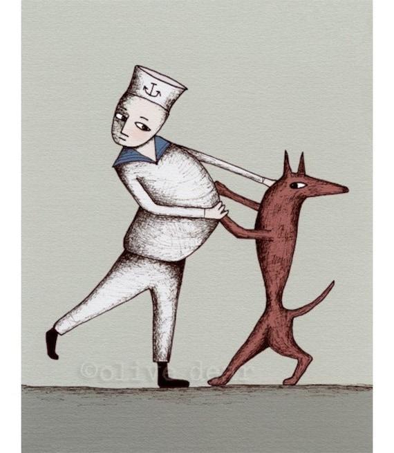 art print, dog tango