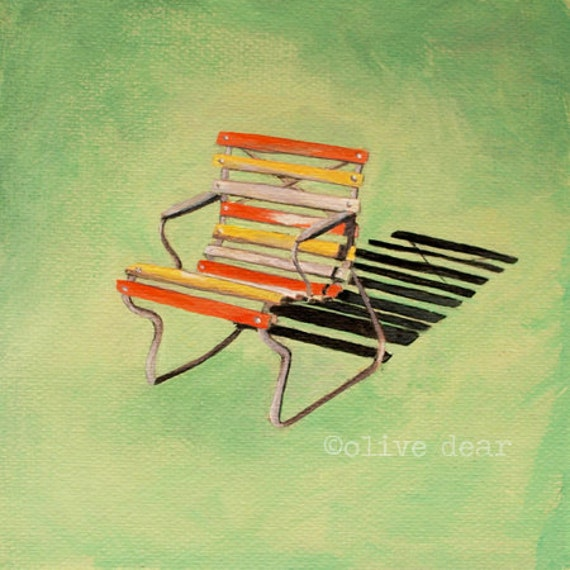 art print, retro, garden chair, mid century