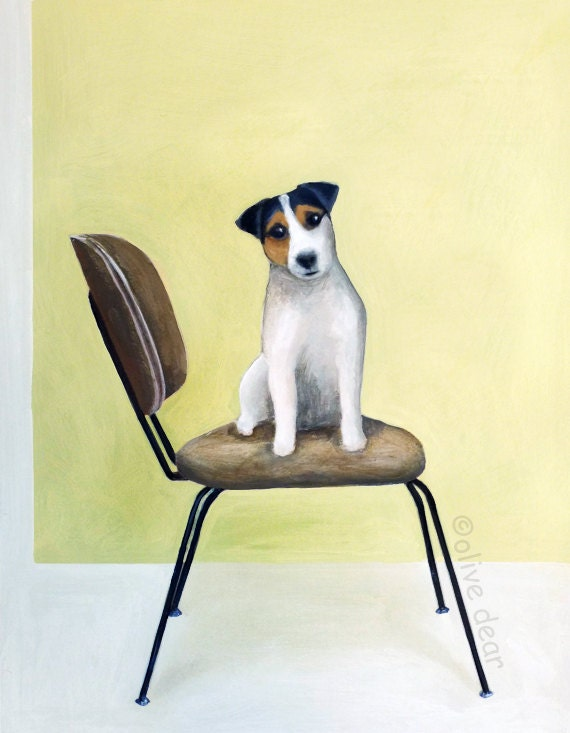 Mid century chair with Jack Russell - LARGE fine art pigment print