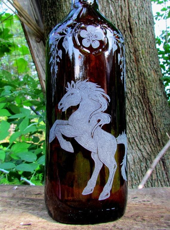 Amber Glass Rearing Horse Bottle