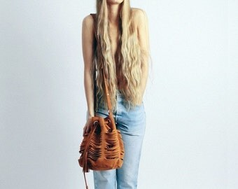 Suede Leather Bag, Suede Pouch // Tajos//
