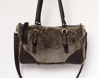 Sheepskin holdall, sheepskin bag, shearling bag