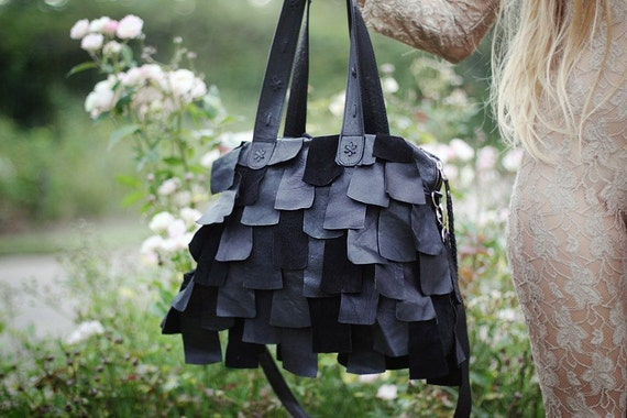 Tazos Black Leather Bag // Made to order  //