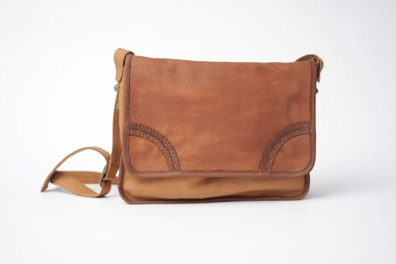 Cobra Tan Leather Satchel Bag