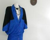 vintage 80s COBALT BLUE BATWING drop waist dress size L