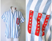 vintage 80s studded AMERICANA flag shirt size M