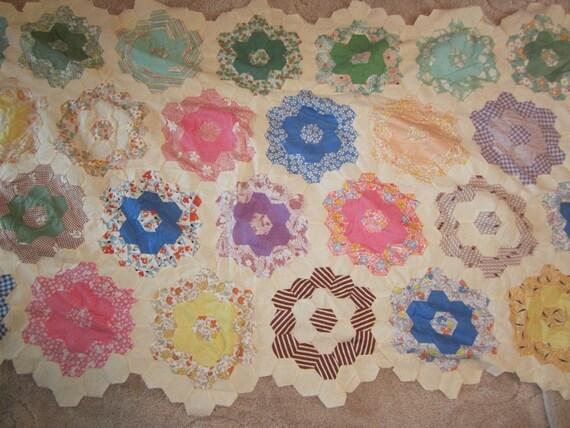 Grandmother's Flower Garden Narrow Pieced Quilt top on sale