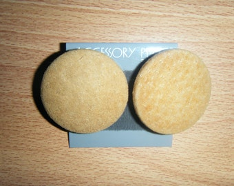 Vintage LARGE SUEDE LEATHER Button Earrings