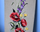 Vintage Embroidered Floral Wall Art