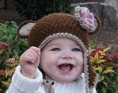 CROCHET PATTERN Beginner Bear Hat with Flower (Includes 5 Sizes Newborn to Adult ) Permission to sell all finished items