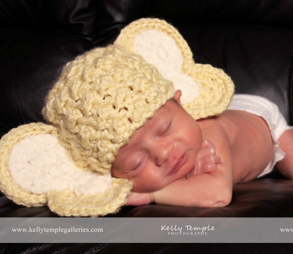 PATTERN - EASY CROCHET ELEPHANT HAT SIZES PREEMIE TO 3 YEARS