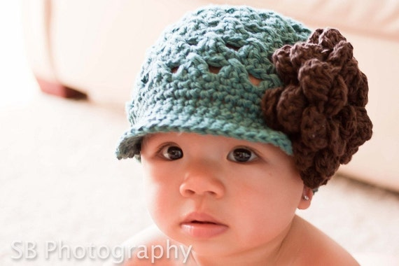 Free Crochet Patterns For Baby Brimmed Hats : Items similar to CROCHET PATTERN Crossed Cluster Newsboy ...