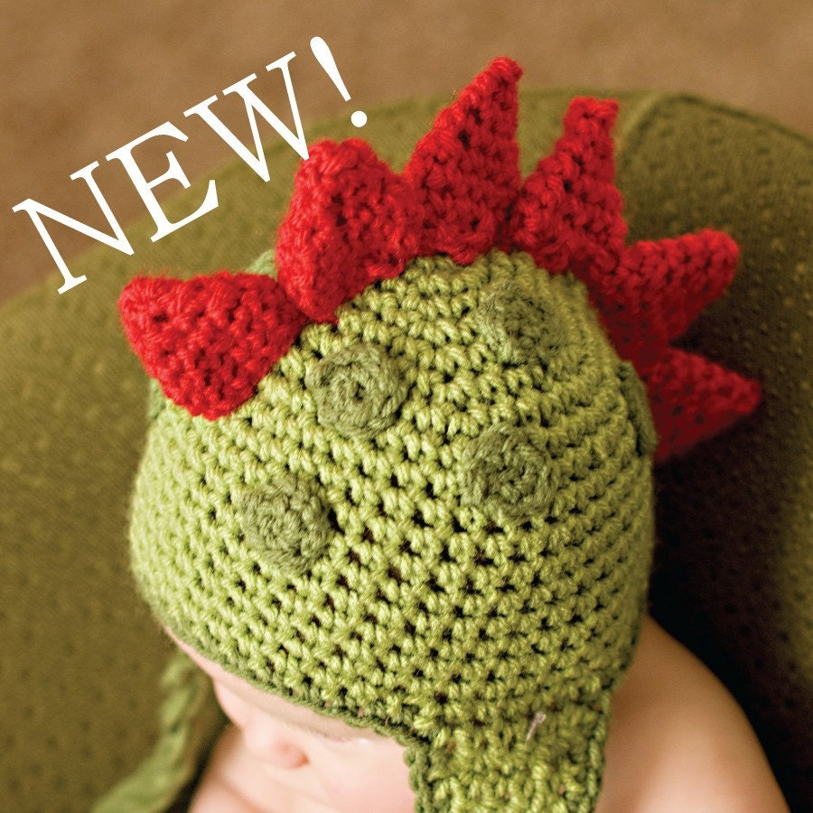 Crochet Pattern For Baby Dinosaur Hat : CROCHET PATTERN Dinosaur Hat 5 Sizes Included Newborn to