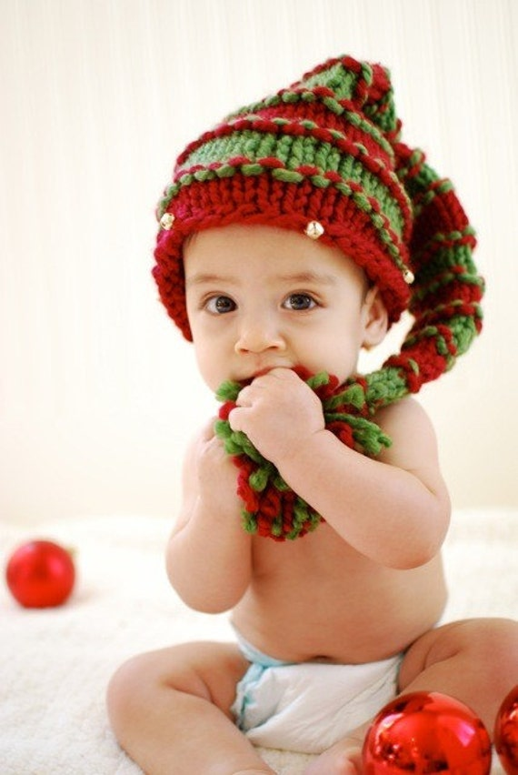 Items similar to festive knitted christmas hat with jingle for Knitted christmas bells