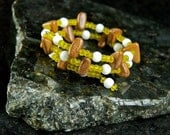 Yellow and Wood Memory Wire Bracelet