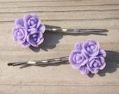 Hair Pins Purple Flowers, Set of 2