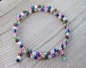 Multi Colored Bicone Memory Wire Bracelet