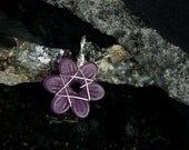 Purple Flower, Wire Wrapped Pendant