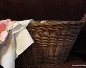 Vintage Wicker laundry Basket w/ handles