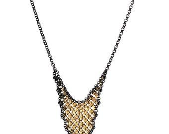 Framed Mesh Large Drop Necklace