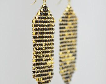 Wide Mesh Banner Earrings - Rustic Luxe Series