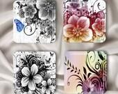 Flowers - Glass Magnet Set
