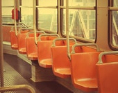 "Seats of Italian tram - 8""x12""  wall decor - orange - autumn colors"