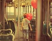"""Little boy playing in the italian tram - 8""""x12""""  fine art"""