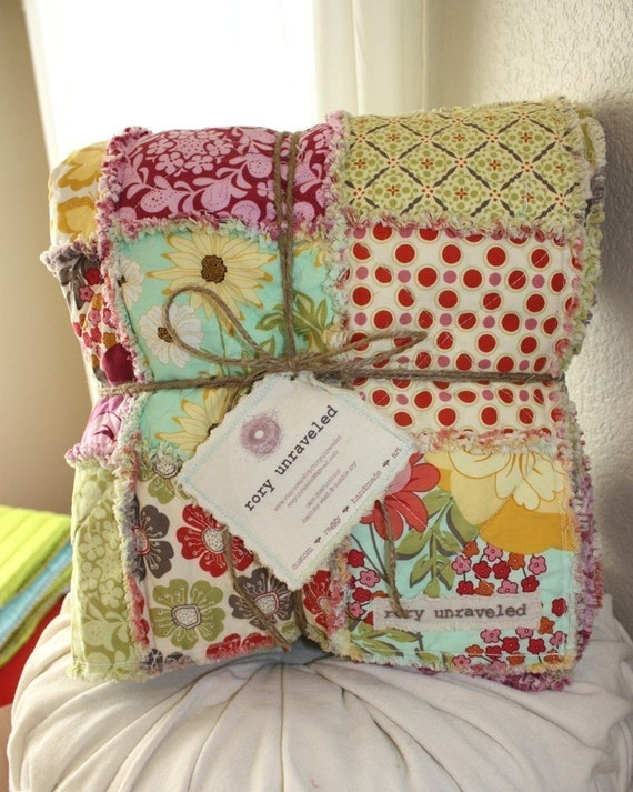 Meadowsweet 2 Large Reversible Rag Quilt Throw Size