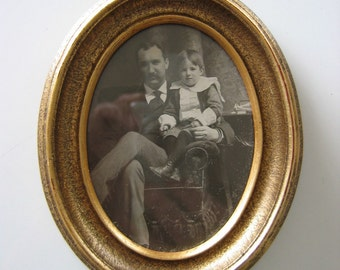 Vintage Photo of a Father and Child.  Nicely framed.  Instant ancestor.