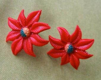 Vintage 1950's, Red Poinsettia Screw back Earrings.