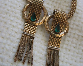 Vintage 1950's,  Flat Woven Chain fringe Necklace.  Gold with Emerald Green Rhinestones.  Hollywood Glamour.