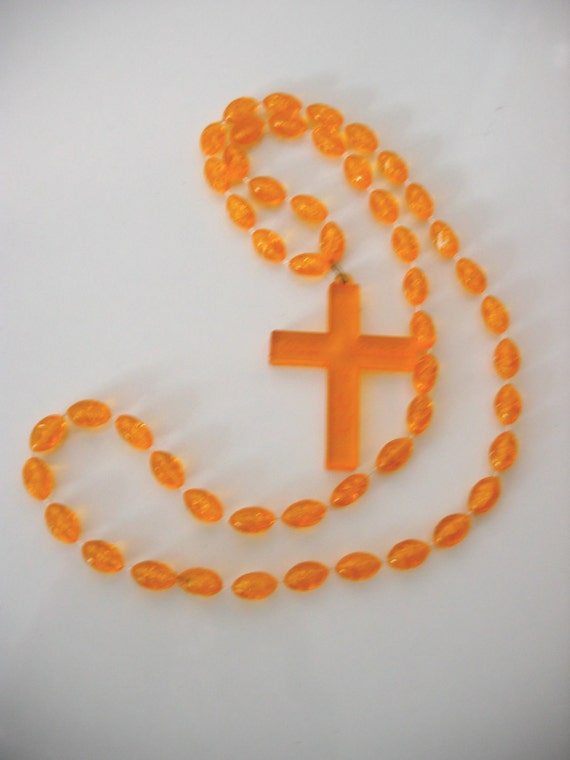 Vintage Plastic Beaded Cross necklace.  Gold necklace.