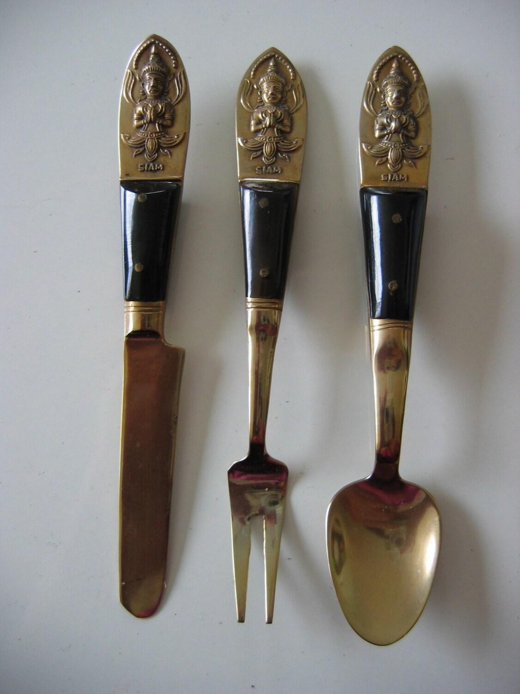 Vintage nickel bronze flatware siam thailand by nancynaz - Thai silverware ...