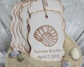 Vintage Seashell Wedding Favor Tags - Set of 100