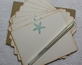 Starfish Beach Stationery, Beach Thank You Notes, Teal Stationery - set of 8 cards and envelopes