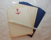 Red Anchor Nautical Stationery - Masculine Stationery, Navy Nautical Stationery Set of 6 cards and envelopes