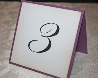 Wedding Table Number Cards - Plum