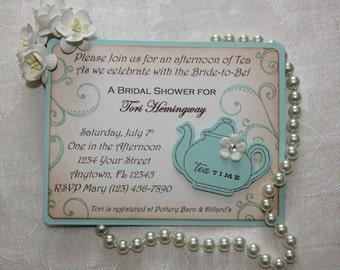 Bridal Tea Party Invitations - Bridal luncheon - Aqua