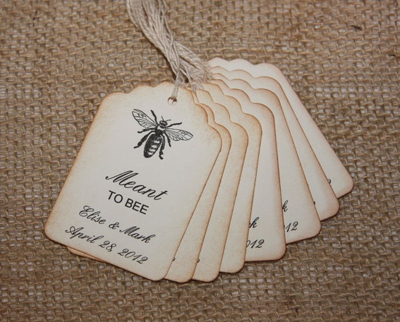 Bee Wedding Favor Tags, Rustic Wedding Favor tags, Meant to BEE tags ...