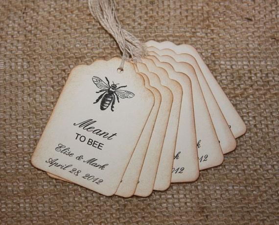 Wedding Favor Tags Rustic : Bee Wedding Favor Tags, Rustic Wedding Favor tags, Meant to BEE tags ...